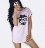Pizza Slut Pink Tee In Pink