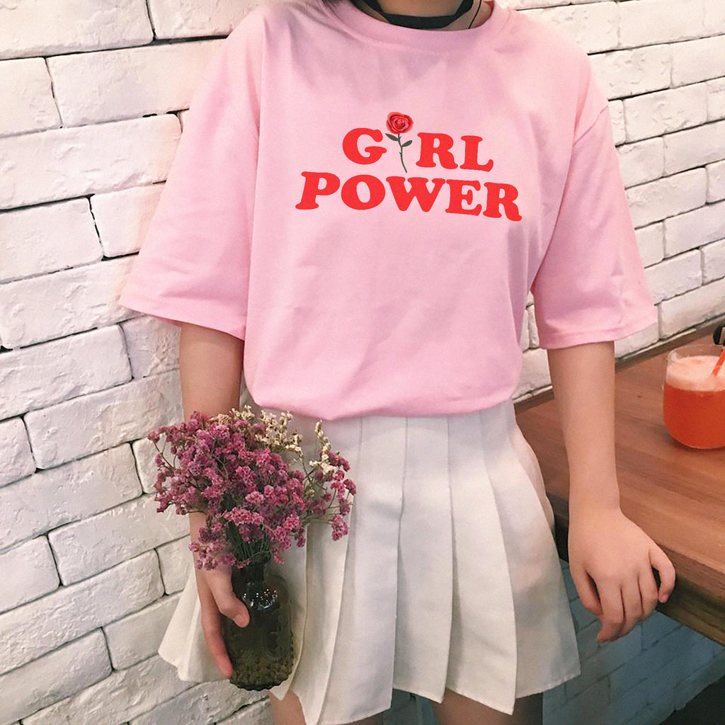 Girl Power Tee - White / Pink