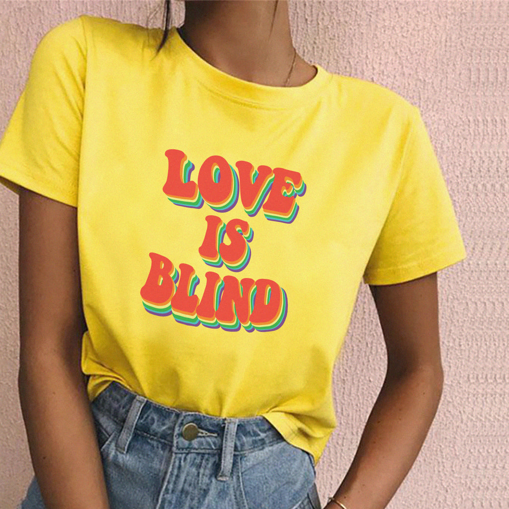 """Love is Blind"" Tee in Yellow"