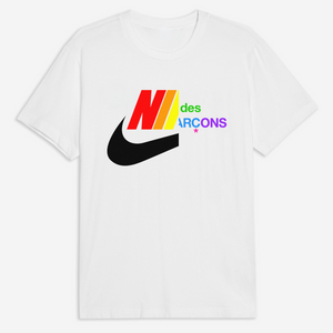 Comme des Swoosh Rainbow Tee in White