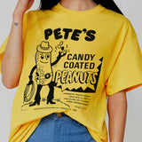 """Pete's Peanuts"" Tee - Yellow / White"