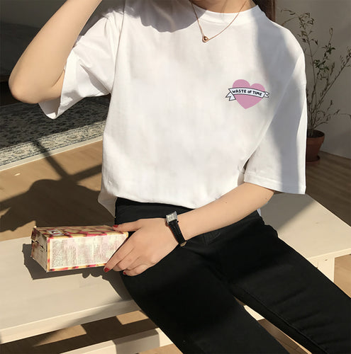 Waste of Time Tee - Pink / White