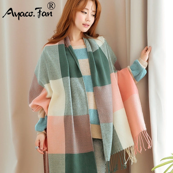 Women Cashmere Scarves 2019 Autumn Winter New Female Wool Plaid Scarf Lady Wide Lattices Long Shawl Wrap Blanket Warm Tippet