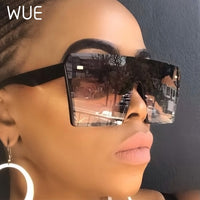 WUE 2019 Flat Top Oversize Square Sunglasses Women Fashion Retro Gradient Sun Glasses Men Blue Big Frame Vintage Eyewear UV400