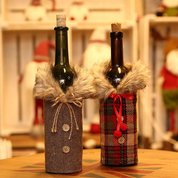 Creative Fur edge Wine Bottle Cover 2020 Merry Christmas wedding Gift Bag Holder Table Decor festival Home Party Decoration