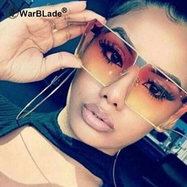 WarBLade 2018 Summer Styles Classic Women Flat Top Square Tinted Sunglasses Fashion Men Half Frame Red Gradient Glasses UV400