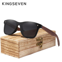 KINGSEVEN 2019 Mens Sunglasses Polarized Walnut Wood Mirror Lens Sun Glasses Women Brand Design Colorful Shades Handmade