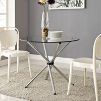 TWIST ROUND DINING TABLE IN CLEAR