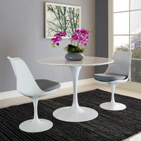 "DIMA 40"" ROUND WOOD TOP DINING TABLE IN WHITE"