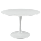 "DIMA 47"" ROUND WOOD TOP DINING TABLE IN WHITE"