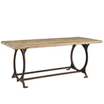 MADISON RECTANGLE WOOD TOP DINING TABLE IN BROWN