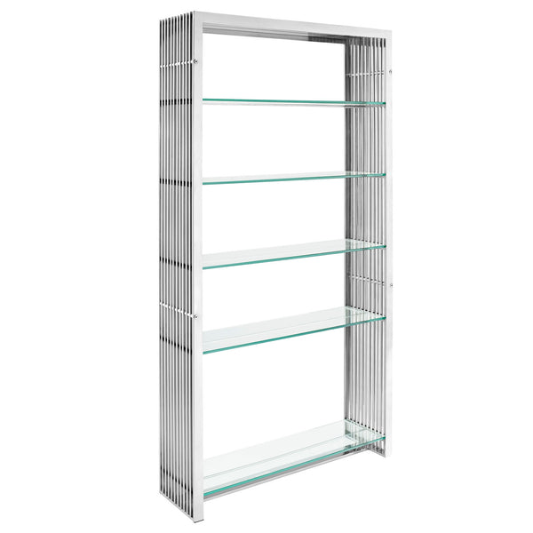 MARADO STAINLESS STEEL BOOKSHELF IN SILVER