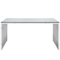 "MARADO STAINLESS STEEL 59"" TABLE IN SILVER"
