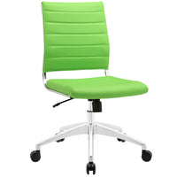 VALLIX ARMLESS MID BACK OFFICE CHAIR IN BRIGHT GREEN