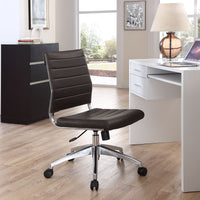 VALLIX ARMLESS MID BACK OFFICE CHAIR IN BROWN