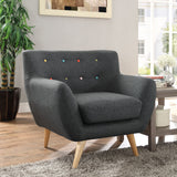 COLBY UPHOLSTERED FABRIC ARMCHAIR IN GRAY