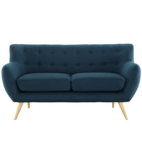COLBY UPHOLSTERED FABRIC LOVESEAT IN AZURE