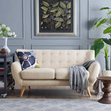 COLBY UPHOLSTERED FABRIC LOVESEAT IN BEIGE
