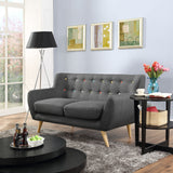 COLBY UPHOLSTERED FABRIC LOVESEAT IN GRAY