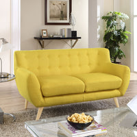 COLBY UPHOLSTERED FABRIC LOVESEAT IN SUNNY