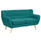 COLBY UPHOLSTERED FABRIC LOVESEAT IN TEAL