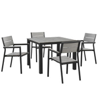 BERLIN 5 PIECE OUTDOOR PATIO DINING SET IN BROWN GRAY
