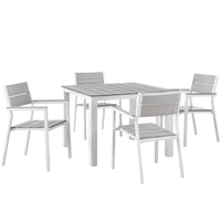 BERLIN 5 PIECE OUTDOOR PATIO DINING SET IN WHITE LIGHT GRAY
