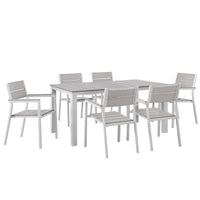 BERLIN 7 PIECE OUTDOOR PATIO DINING SET IN WHITE LIGHT GRAY