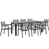 BERLIN 9 PIECE OUTDOOR PATIO DINING SET IN BROWN GRAY