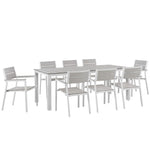 BERLIN 9 PIECE OUTDOOR PATIO DINING SET IN WHITE LIGHT GRAY