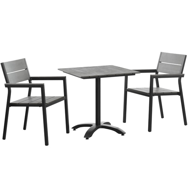 BERLIN 3 PIECE OUTDOOR PATIO DINING SET IN BROWN GRAY