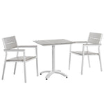 BERLIN 3 PIECE OUTDOOR PATIO DINING SET IN WHITE LIGHT GRAY