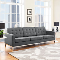 VEROS UPHOLSTERED FABRIC SOFA IN GRAY