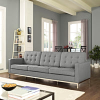VEROS UPHOLSTERED FABRIC SOFA IN LIGHT GRAY