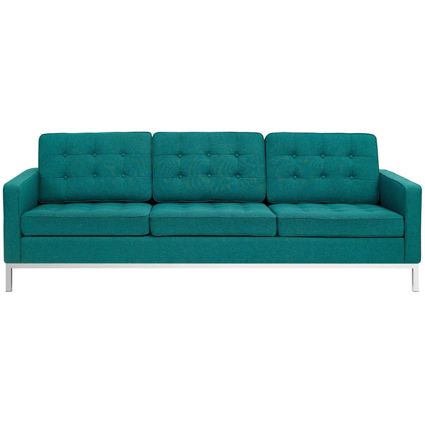VEROS UPHOLSTERED FABRIC SOFA IN TEAL