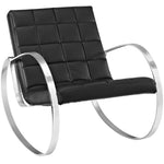 GLYDE UPHOLSTERED VINYL LOUNGE CHAIR IN BLACK