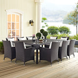 MARVILLE 11 PIECE OUTDOOR PATIO DINING SET - EXTRA-WIDE TABLE (MULTIPLE COLORS)