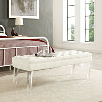 EMORI VELVET BENCH IN IVORY