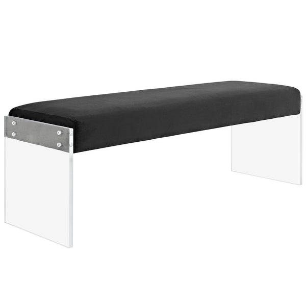 CORA VELVET BENCH IN BLACK