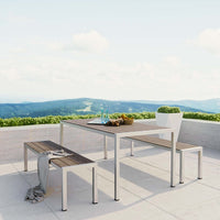 SHORELINE 3 PIECE OUTDOOR PATIO ALUMINUM DINING SET IN SILVER GRAY
