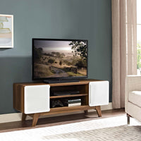 "ATMOS 47"" TV STAND WITH SIDE CABINETS IN WALNUT WHITE"
