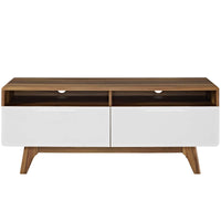 "ATMOS 47"" TV STAND WITH DRAWERS IN WALNUT WHITE"