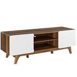 "ATMOS 59"" TV STAND IN WALNUT WHITE"
