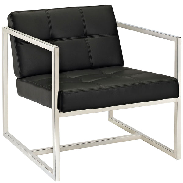 KUBIK UPHOLSTERED VINYL ARMCHAIR IN BLACK