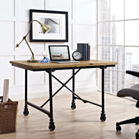SMITH WOOD OFFICE DESK IN BROWN