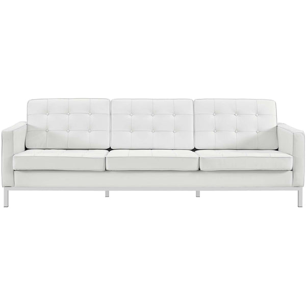 VEROS LEATHER SOFA IN WHITE