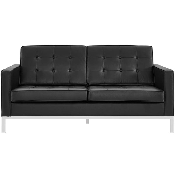 VEROS LEATHER LOVESEAT IN BLACK