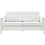 VEROS LEATHER LOVESEAT IN WHITE