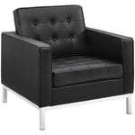 VEROS LEATHER LOUNGE CHAIR IN BLACK