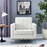 VEROS LEATHER LOUNGE CHAIR IN WHITE
